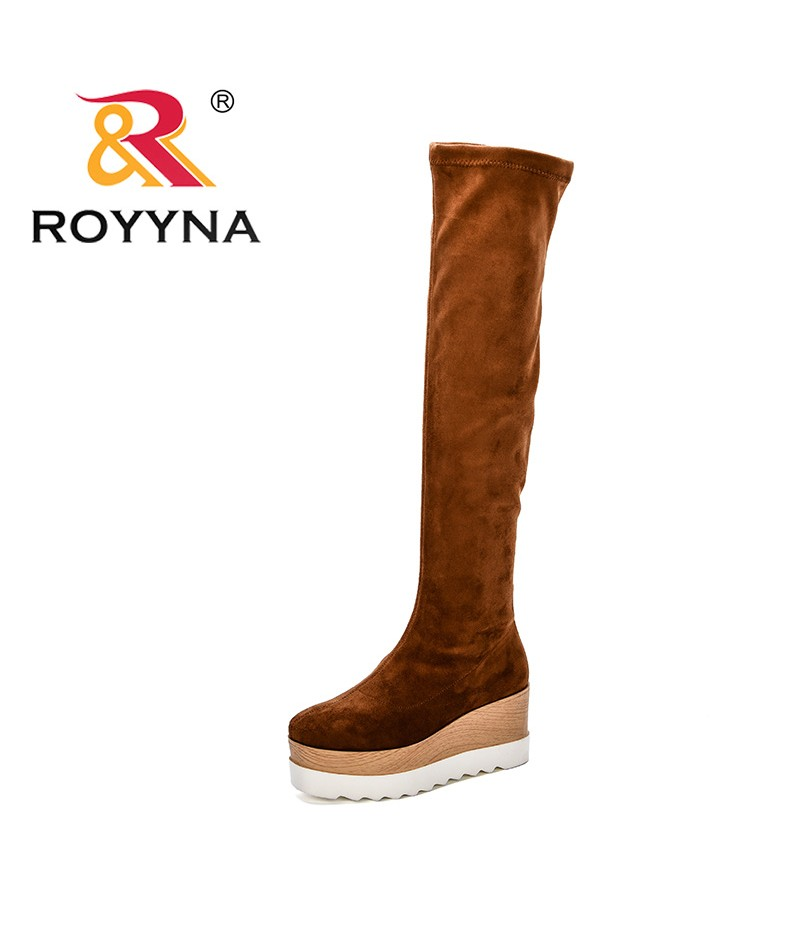 ROYYNA New Designer Popular Style Women's Fashion Knee High Boots Flock High Platform Feminimo Boots Zapatos De Mujer Botas
