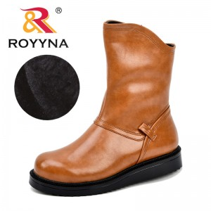 ROYYNA New Designer Women Boots Round Toe Zippers Leather Female Boot Autumn Shoes Ladies 2018 Comfortable Boots Trendy Shoes
