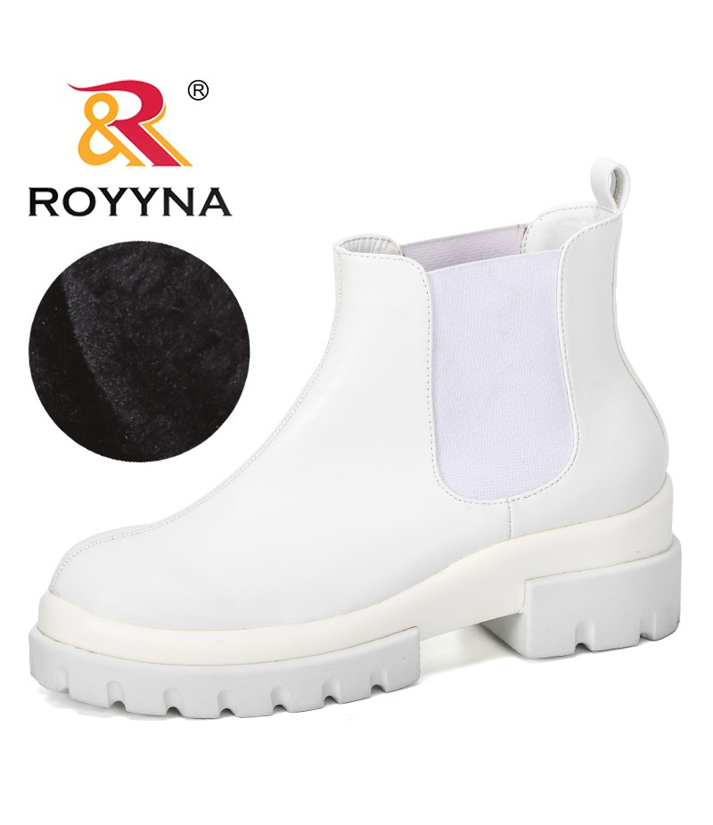 ROYYNA 2019 New Fashion Women Boots Thick Heel Platforms Zapatos Mujer Microfiber High Pump Boots Motorcycle Shoes Feminimo
