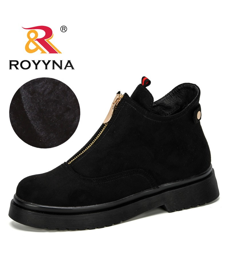 ROYYNA 2019 New Designer Popular Women Winter Boots Classic Zipper Snow Ankle Boots Flock Warm Plush Women Outdoor Shoes Trendy