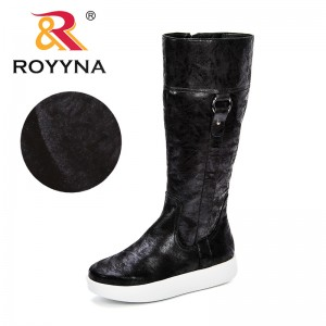 ROYYNA New Autumn Winter Mid-calf Women Boots Flats Heels WarmShort Plush Synthetic Leather Boots High Quality Knee High Boots