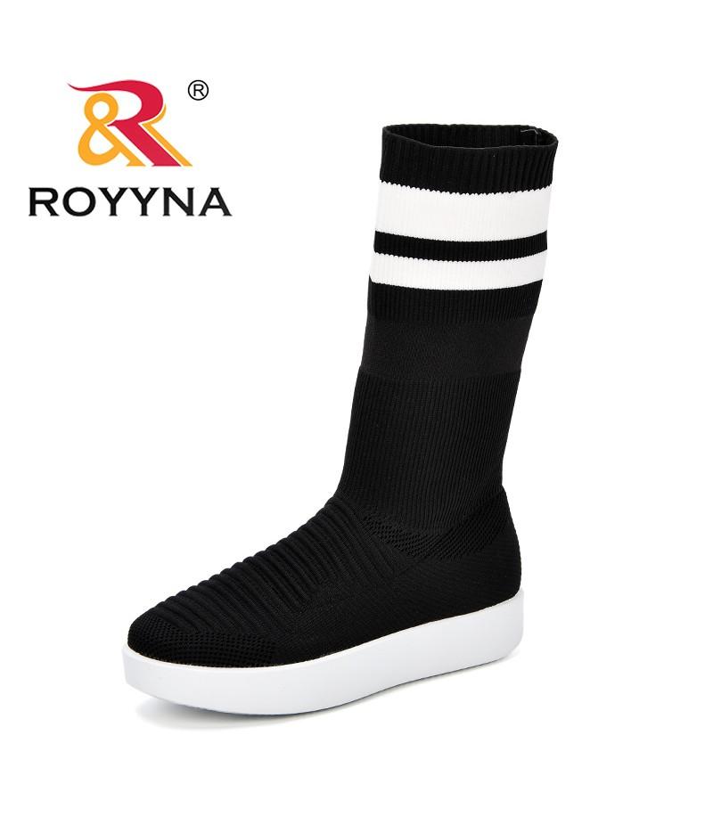 ROYYNA New Women Sock Boots Round Toe Elastic High Boots Slip On High Platform Ankle Boots Women Pumps Trendy Stiletto Botas