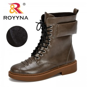 ROYYNA 2019 New Classics Style Winter Shoes Women Flat Heel Boots Fashion Keep Warm Women's Boots Brand Woman Mid-Calf Boots