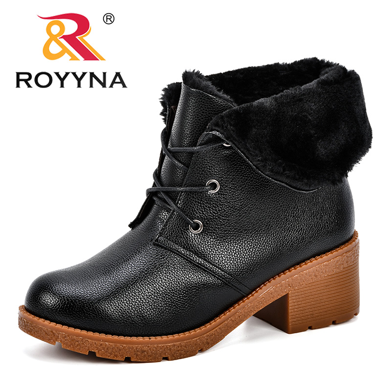ROYYNA 2018 Women's Winter Plush Shoes Brand Martin Boots Women Boots Quality Work Boot High Heels Ankle Comfortable Boots Women