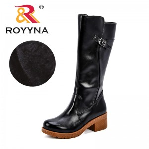 ROYYNA 2018 New Designer Sexy Mid-Calf Boots Women Boots Flats Shoes Woman Square Heel Rubber Synthetic Boots Botas Winter Lady