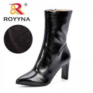 ROYYNA New 2018 Autumn Winter Fashion Woman Boots High Heels Women Synthetic Leather Ankle Boots Sexy Pointed Toe Martin Boots