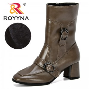 ROYYNA 2019 New Designer Mid-Calf Boots For Women Zippers Buckle Boots Women Winter Warm Plush Women Boots Street Style Shoes