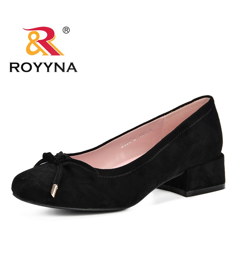 ROYYNA 2019 High Heels Shoes Women Pumps Flock Single Woman Dress Shoes Thick Heels Round Toe Square Heels Female Pumps Comfy