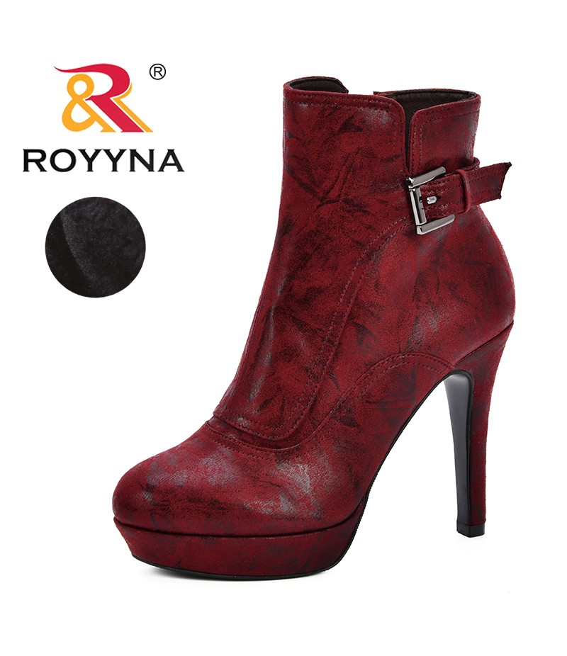 ROYYNA Winter Plush Warm Women Boots 2019 Women Thin Heel Ankle Snow Boots Ladies Platform Artificial Fur Female Casual Shoes