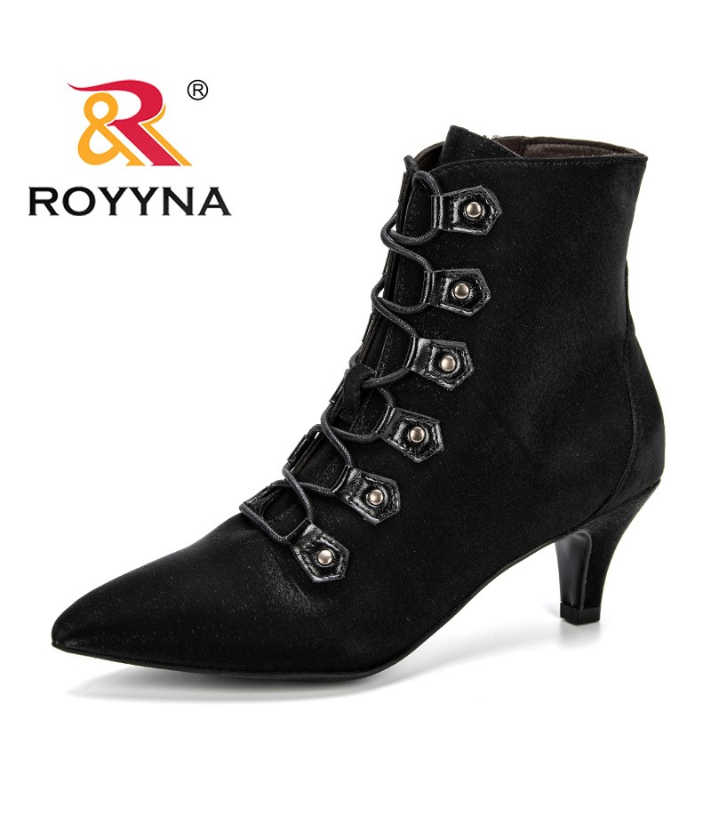 ROYYNA New Style 2019 Spring Autumn Women Boots Shoes Woman Ankle Boots Pointed Toe Zippers Shoes Feminimo Black Zapatos Mujer