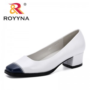 ROYYNA 2019 New Designer Women Pumps Low Heels Shoes Woman Ladies Party Wedding Dress Square Toe Slip On Shoes Mixed Color