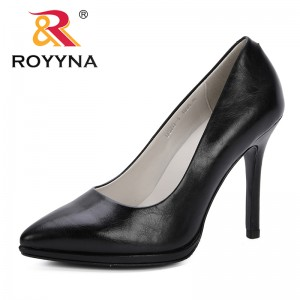 ROYYNA 2019 Style Women Pumps Fashion Classic Microfiber Leather High Heels Shoes Sharp Head Paltform Wedding Women Dress Shoes