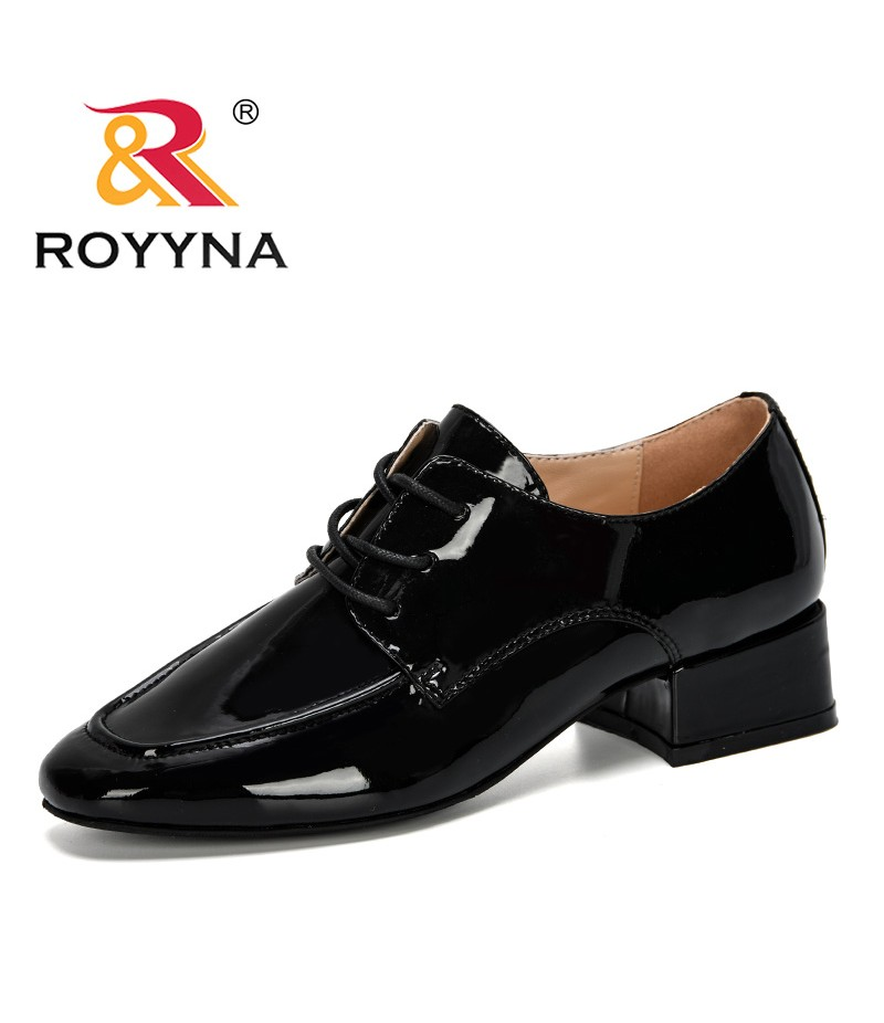 ROYYNA 2019 New Classics Style Women Pumps Shoes Low Heel Square Heel Pumps Patent Leather Women Casual Shoes Lace-Up Trendy