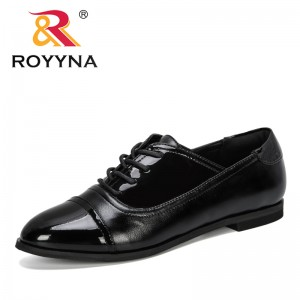 ROYYNA 2019 New Style Women Pumps Low Heel Dress Shoes Patent Leather Lace-Up Woman Boat Shoes Zapatos Mujer Lady Wedding Shoes