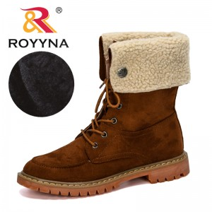 ROYYNA 2019 New Designer Fashion Women Boots Winter Motorcycle Ankle Platform Boots Ladies Boots Flock Feminimo Shoes Comfy