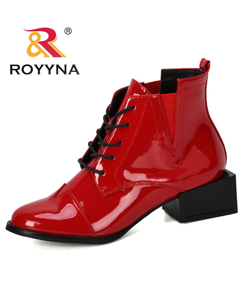 ROYYNA 2019 Autumn New Designer Square High Heels Women Ankle Shoes Microfiber Boots Feminimo Fashion Office Boots Ladies Trendy