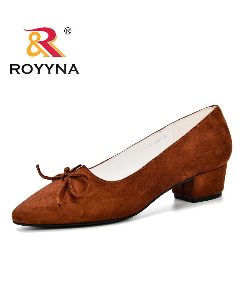 ROYYNA 2019 Spring Autumn Pointed Toe Women's Low Heels Pumps Flock Plain Slip On Heel Pumps Shoes Woman Ladies Single Shoes