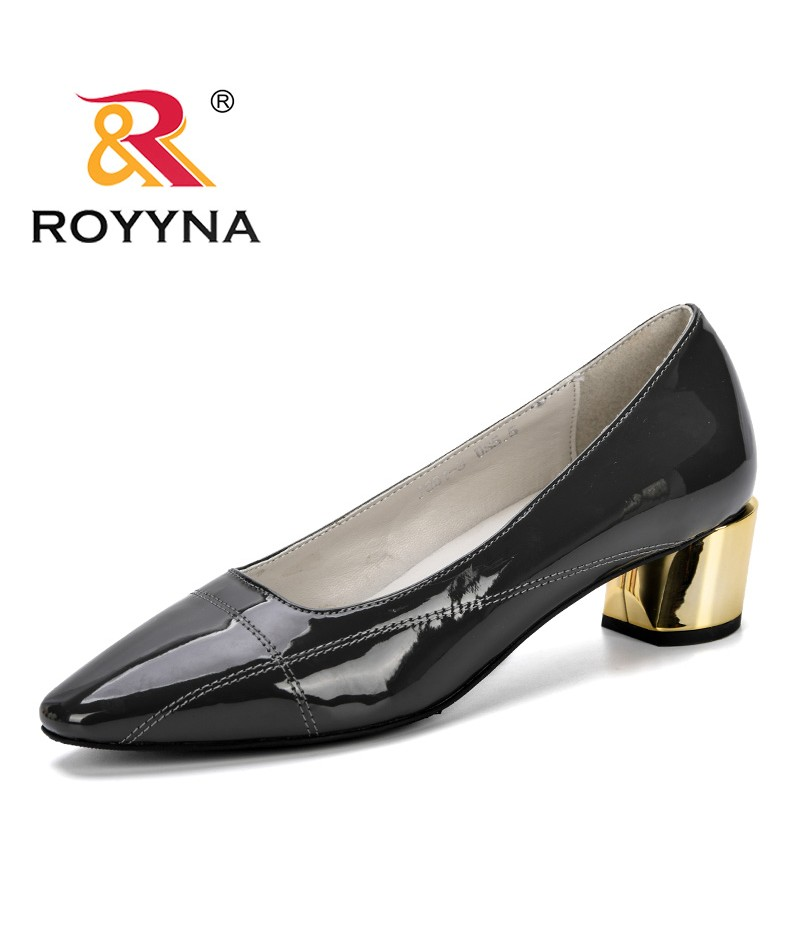 ROYYNA 2019 Patent Leather Low Heels Shoes Women Professional Shoes Female Shallow Shoes Feminimo Elegant Ladies Office Shoes