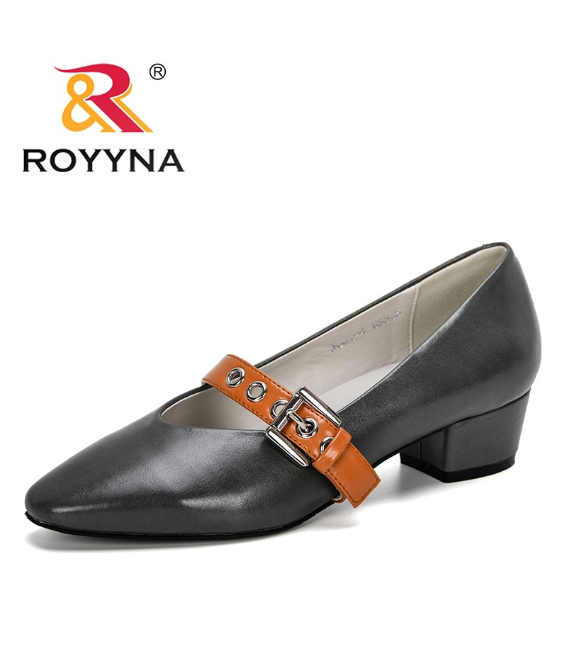 ROYYNA 2019 New Designer Women Thick Heel Dress Shoes Women Fashion Round Toe Pumps Buckle Ladies Wedding Shoes Comfortable