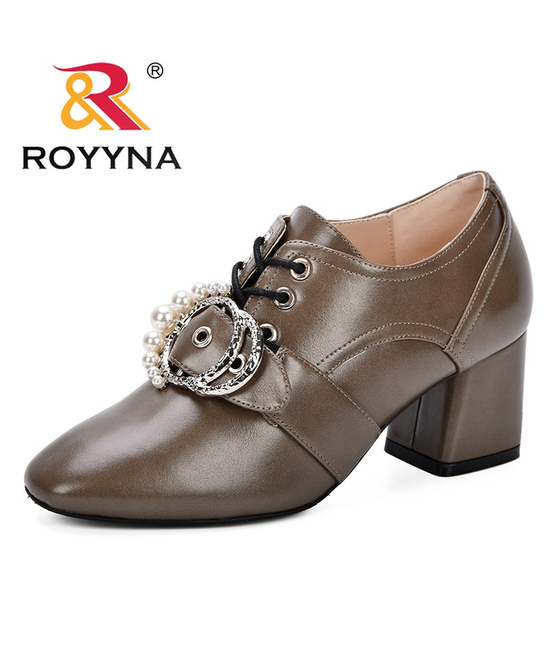 ROYYNA High Heels Pumps Women Lace Up Ladies Square Heels Escarpins Femme 2018 Autumn Comfortable Ankle Zapatos Mujer Tacon Shoe