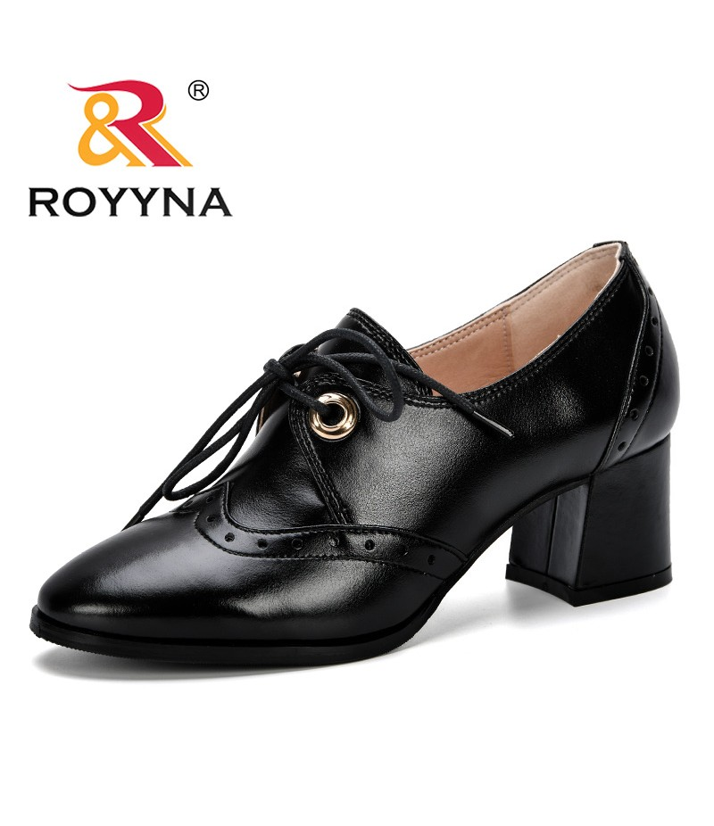 ROYYNA 2019 New Women high Heels Sexy Leather Shoes Women Pumps Party Thick Heel Pointed Toe Trendy Shoes Woman Office Shoes