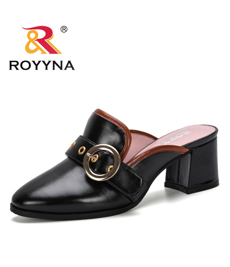 ROYYNA 2019 New Style Women Slippers Microfiber Female Mules Fashion High Heels Shoe Pointed Toe Plus Size Elegant Lady Footwear