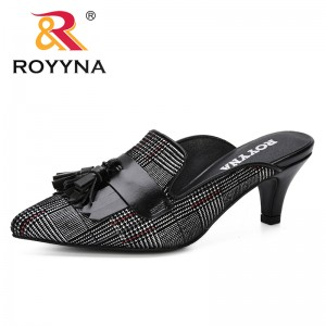 ROYYNA 2019 Spring Autumn Women Mules Slippers High Heels Ladies Pointed Toe Strange Style Outside Shoes For Girls Fashionable
