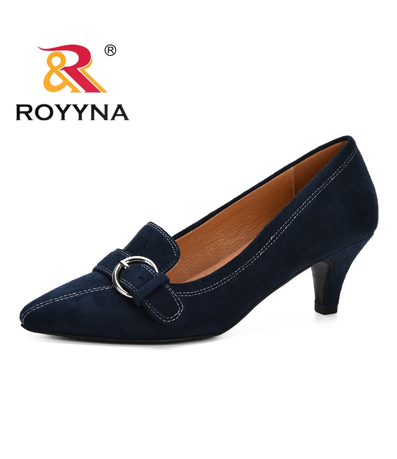 ROYYNA 2019 New Style Pointed Toe Wedding Shoe Women's Pumps Solid Flock Fashion Buckle Shallow High Heels Shoes Women Trendy