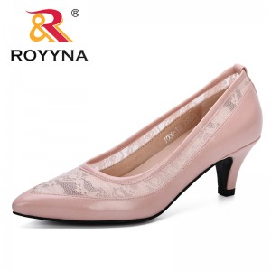 ROYYNA 2019 Summer New Fashion Style Women PumpsTransparent Mesh High Heels Sexy Pointed Toe Slip-on Wedding Party Shoes Lady