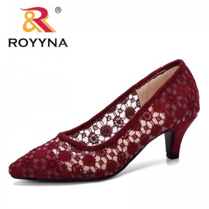 ROYYNA 2019 New Style Women Slip-On Shallow Wedding Party Thin Heels Pointed Toe Woman High Heels Pumps Women Dress Shoes Trendy