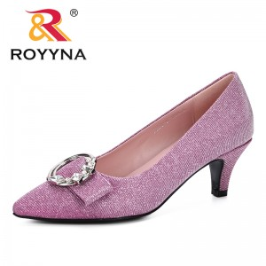 ROYYNA 2019 Spring Autumn Women Pumps Casual Sweet Cross Buckle Strap Women Black Pink Grey Green Party Shoes Sapato Feminino