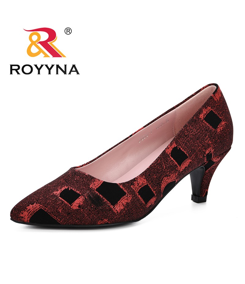 ROYYNA 2019 Spring Autumn Synthetic Leather High Heels Pointed Toe Pumps Shoes Party Shoes Women Trendy Comfortable Pump Female