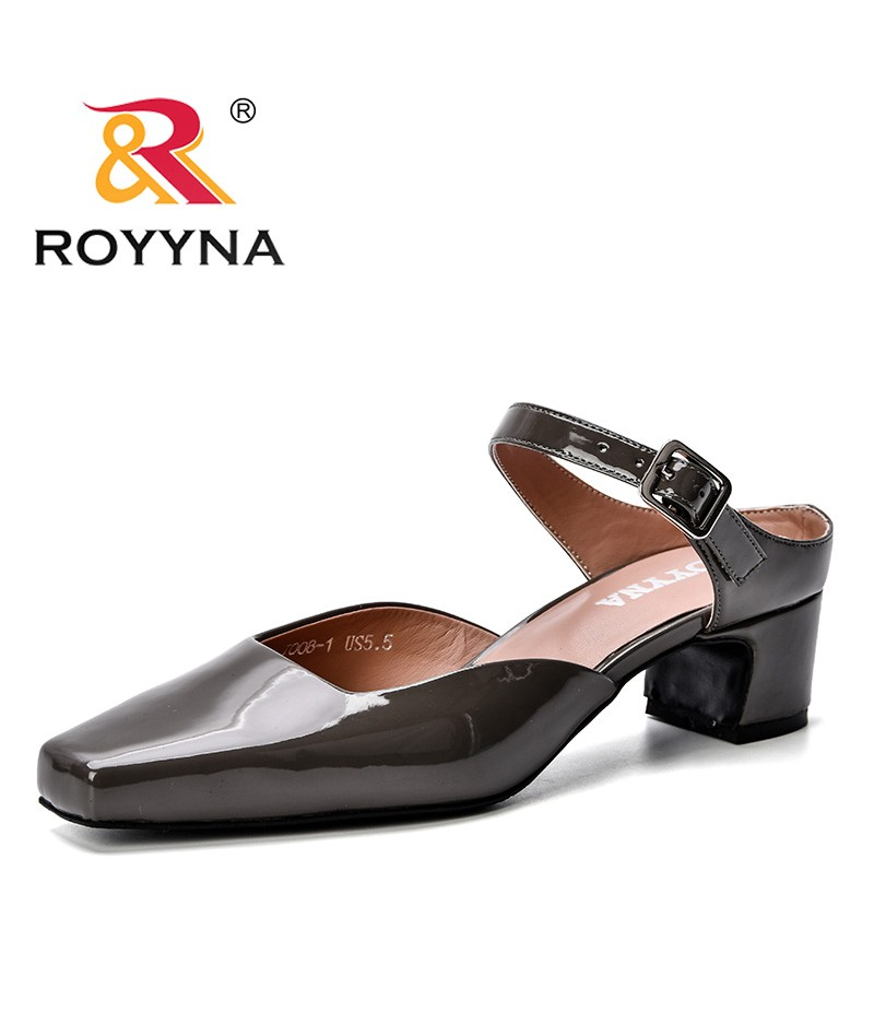 ROYYNA 2019 Summer New Designer Style Women Pumps Sandals High Heels Pumps Fashion Summer Square Toe Party Ladies Shoes Trendy