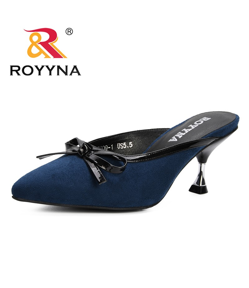 ROYYNA 2019 Slippers Women Shoes Woman Pointed Toe Ladies Slides Feminimo Slippers Summer Fashion Flip Flops Mules Shoes Female