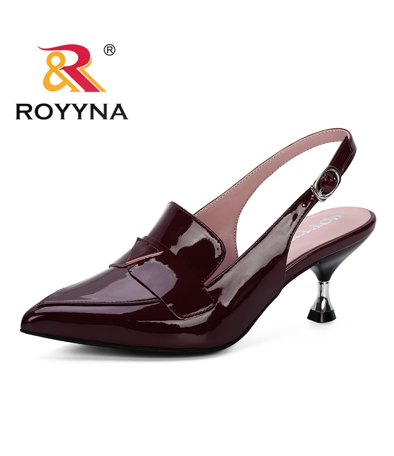 ROYYNA 2019 Summer New Hollow Coarse Sandals Women High-heeled Pointed Pumps Shoes Feminimo Work Shoes Women Sexy Wedding Shoes