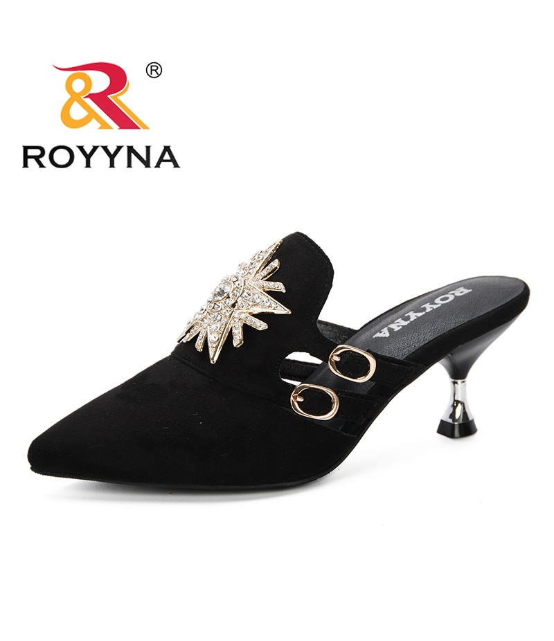 ROYYNA 2019 New Woman Flock Mlues Women Strange Style Heels Slippers Outting Loafers Flat Pointed Toe Mule Casual Slide Feminimo