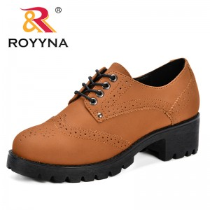 ROYYNA 2019 Spring Autumn Women Shallow Brogue Shoes Vintage Chunky Heel Cut Out Oxford Shoes Ladies Lace Up Fashion Footwear