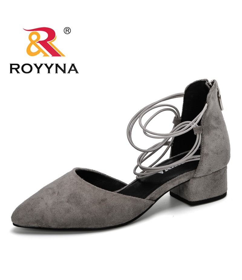 ROYYNA 2019 New Arrival Fashion High Heels Sandals Woman Flock Square Heels Shoes Women Summer Shoes Ladies Trendy Footwear