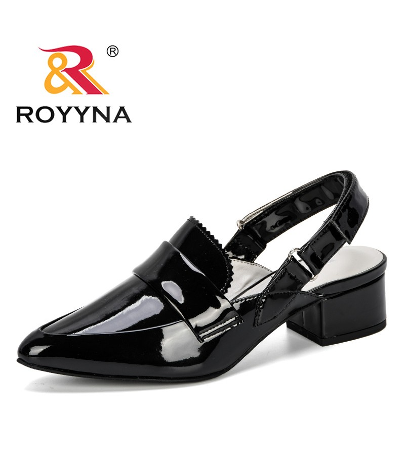 ROYYNA 2019 New Fashion Style Heels Sandals Women For Summer Shoes Woman Casual Block Buckle Pointed Toe Ladies Zapatos Mujer