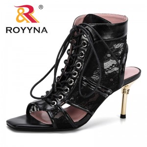 ROYYNA 2019 Casual High Heel Women Sandals Buckle High Sole Peep Toe Sandalias Shoes Solid Thin Heel Ladies Office Career Shoes