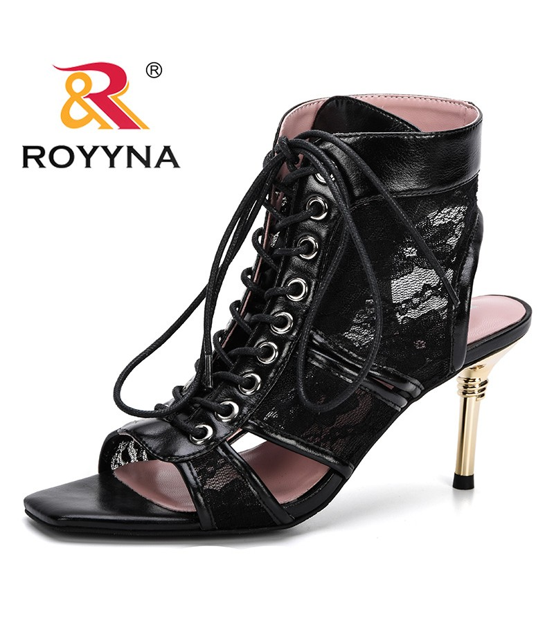 ROYYNA 2019 Casual High Heel Women Sandals Buckle High Sole Peep Toe Sandalias Shoes Solid Thin Heel Ladies Office Career Shoes