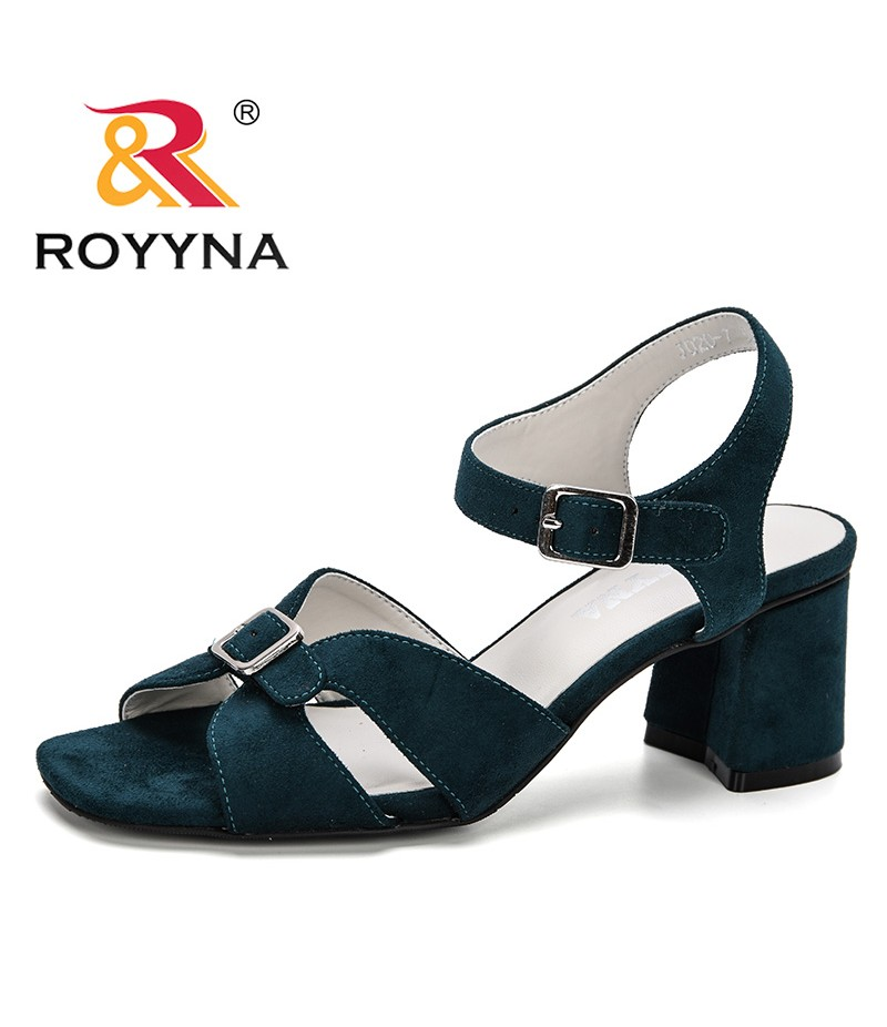 ROYYNA 2019 New Style Woman Sandals Summer Fashion Flock Wedges Pumps Female High Heels Buckle Strap Gladiator Women Solid Shoes