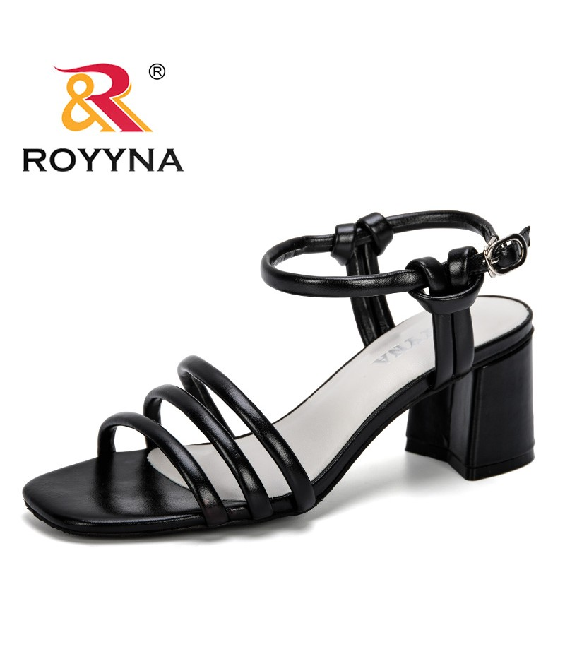 ROYYNA 2019 Summer New Style Outdoor Sandals Woman Open Toe Cross-Knit High Heels Sandals Ladies Slippers Zapatos De Mujer Comfy