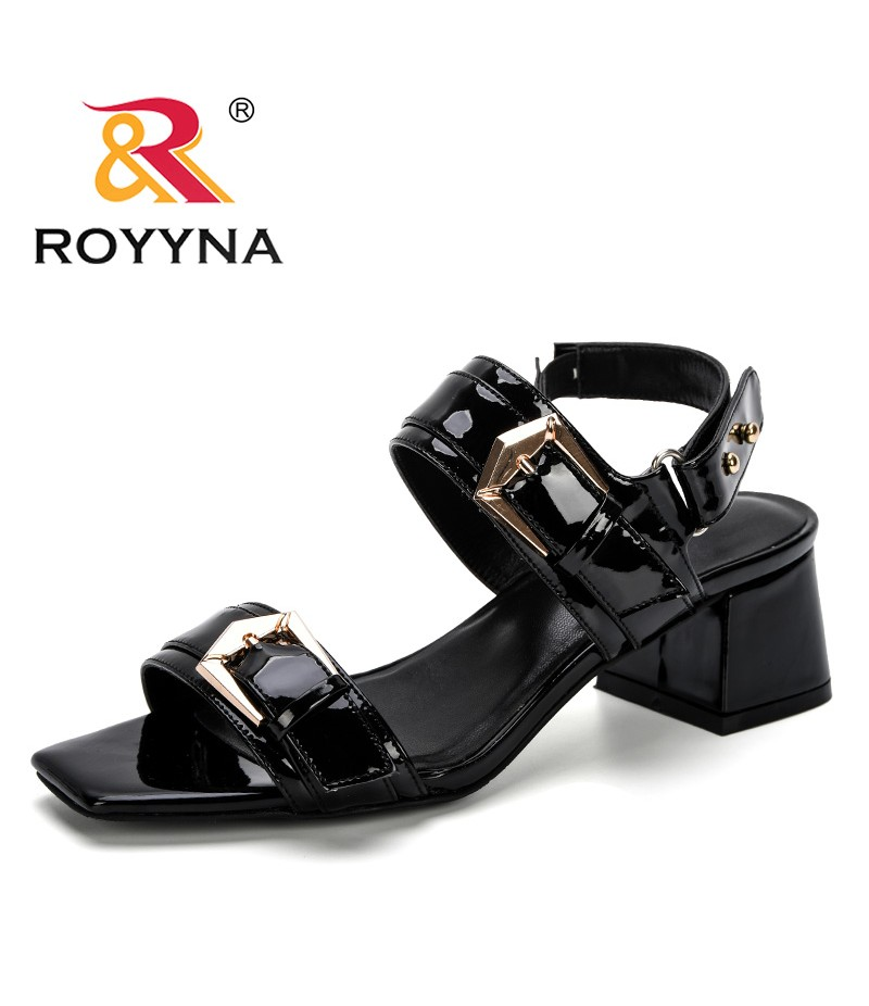 ROYYNA 2019 New Popular Spring Summer Women Sandals Fashion Metal Buckle Strap Hollow Out Roma Shoes Sapato Feminino Confortable
