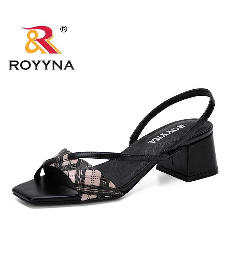 ROYYNA 2019 New Fashion Style Women Sandals High Square Heels Shoes Sandals Mujer Valentine Shoes Open Toe Femenimo Summer Shoes