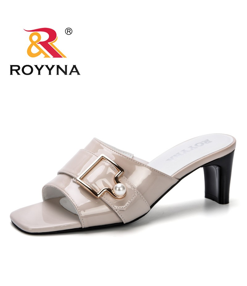 ROYYNA 2019 Women New Style Summer Fashion High Heels Slippers Ladies Peep-Toe Strange Style Outside Shoes For Girls Comfortable