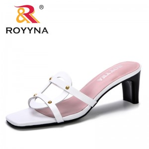 ROYYNA 2019 Fashion Brand Summer Cross Leather Ladies Slippers Women High Heels Beach Shoes Lazy Casual Slides Feminimo Trendy