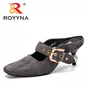 ROYYNA 2019 New Popular Mules Slippers Ladies Square Toe Strange Style Buckle Outside Shoes Flock Woman Fashion Footwear Trendy