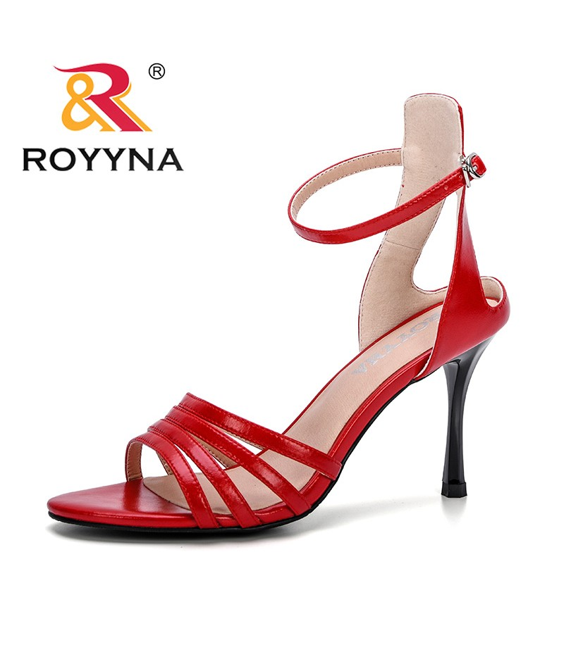 ROYYNA 2019 New Popular Style Women Sandals Rome Summer Shoes Ladies Buckle Strap High Heel Gladiator Sandals Comfortable Trendy