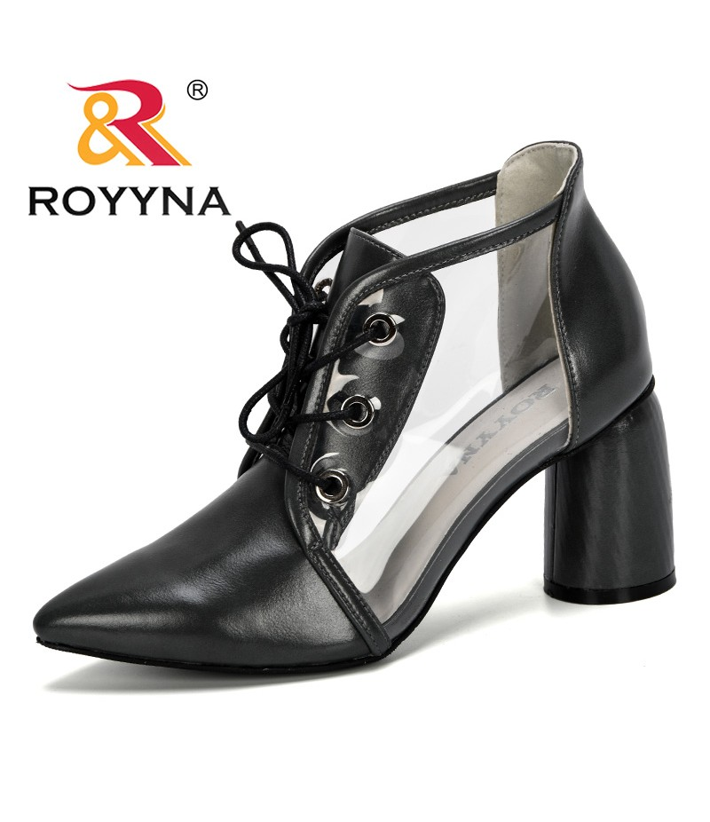 ROYYNA 2019 New Style Designer High Heeled Gladiator Buckle Sandals Women Summer Transparent Shoes Lady Zapatos Mujer Size 34-43